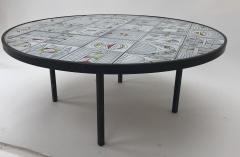 Roger Capron Roger Capron rare naive figuratif round coffee table - 1033566
