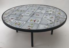 Roger Capron Roger Capron rare naive figuratif round coffee table - 1033567