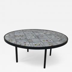 Roger Capron Roger Capron rare naive figuratif round coffee table - 1033574