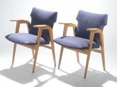 Roger Landault French Mid century oak compass armchairs by Roger Landault 1950s - 983538