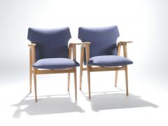 Roger Landault French Mid century oak compass armchairs by Roger Landault 1950s - 983540
