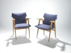 Roger Landault French Mid century oak compass armchairs by Roger Landault 1950s - 983541