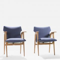 Roger Landault French Mid century oak compass armchairs by Roger Landault 1950s - 986518