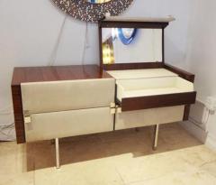 Roger Landault Modernist Dresser Vanity in Rosewood and Suede by Roger Landault circa 1965 - 209928