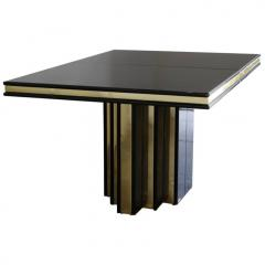 Roger Rougier Brass and Black Lacquer Dining Table by Roger Rougier - 631358