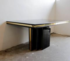 Roger Rougier Brass and Black Lacquer Dining Table by Roger Rougier - 631359