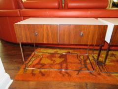 Roger Rougier Pair of Rougier Rosewood Two Drawer Chrome Base Nightstands Mid Century Modern - 1550129