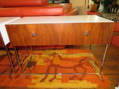 Roger Rougier Pair of Rougier Rosewood Two Drawer Chrome Base Nightstands Mid Century Modern - 1550131
