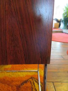 Roger Rougier Pair of Rougier Rosewood Two Drawer Chrome Base Nightstands Mid Century Modern - 1550147