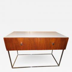 Roger Rougier Pair of Rougier Rosewood Two Drawer Chrome Base Nightstands Mid Century Modern - 1551375