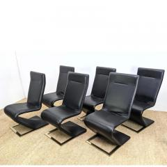 Roger Rougier SUITE OF SIX ROGER ROUGIER ZIG ZAG DINING CHAIRS - 2126123