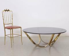 Roger Sprunger Brass and Smoked Glass Coffee Table by TriMark circa 1971 - 538833
