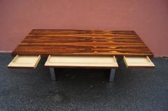 Roger Sprunger Rosewood and Chrome Executive Desk by Roger Sprunger for Dunbar - 1181132