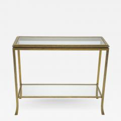 Roger Thibier Rare Mid century Roger Thibier gilt wrought iron gold leaf console table 1960s - 997440