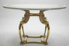 Roger Thibier Unique Mid century Roger Thibier brass marble dining table 1970s - 995901