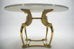 Roger Thibier Unique Mid century Roger Thibier brass marble dining table 1970s - 995904