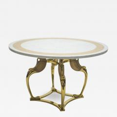 Roger Thibier Unique Mid century Roger Thibier brass marble dining table 1970s - 998485