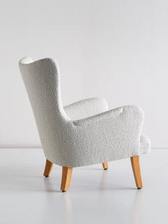 Rolf Engstr mer Pair of Rolf Engstr mer Armchairs in Pearl Boucl and Sycamore Sweden 1946 - 1247038