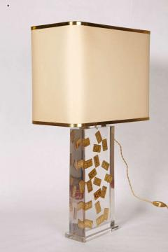 Romeo Paris 1970s table lamp with inclusion in lucite - 727326