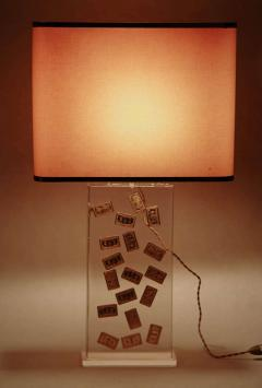 Romeo Paris 1970s table lamp with inclusion in lucite - 727329