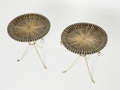 Romeo Paris Pair of Romeo Paris brass straw marquetry gueridon tables 1970s - 1959290