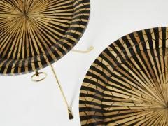 Romeo Paris Pair of Romeo Paris brass straw marquetry gueridon tables 1970s - 1959291