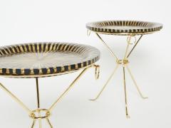 Romeo Paris Pair of Romeo Paris brass straw marquetry gueridon tables 1970s - 1959293