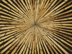 Romeo Paris Pair of Romeo Paris brass straw marquetry gueridon tables 1970s - 1959294