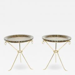 Romeo Paris Pair of Romeo Paris brass straw marquetry gueridon tables 1970s - 1962617