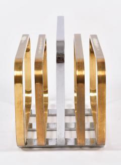 Romeo Rega 1970s Italian chrome and brass magazine rack by Romeo Rega - 1096155