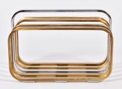 Romeo Rega 1970s Italian chrome and brass magazine rack by Romeo Rega - 1096156