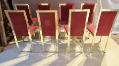 Romeo Rega Eight Romeo Rega Style Brass Dining Chairs Italy 1980 - 569973