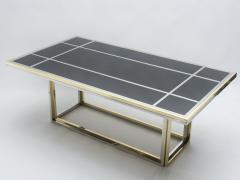 Romeo Rega Large brass chrome black glass dining table Romeo Rega 1970s - 1331504