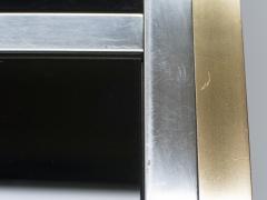 Romeo Rega Large brass chrome black glass dining table Romeo Rega 1970s - 1331505