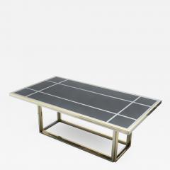 Romeo Rega Large brass chrome black glass dining table Romeo Rega 1970s - 1333582