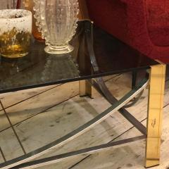 Romeo Rega Mid Century Modern Italian Brass Steel and Smoked Glass Coffee Table 1970 - 916576