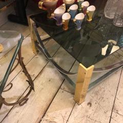 Romeo Rega Mid Century Modern Italian Brass Steel and Smoked Glass Coffee Table 1970 - 916579