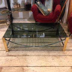 Romeo Rega Mid Century Modern Italian Brass Steel and Smoked Glass Coffee Table 1970 - 916581