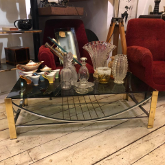 Romeo Rega Mid Century Modern Italian Brass Steel and Smoked Glass Coffee Table 1970 - 916584