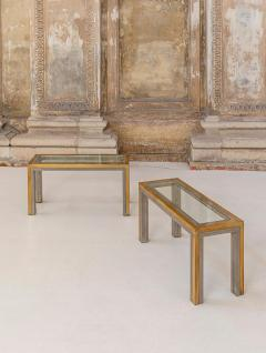 Romeo Rega Pair of Brass and Chrome Low Tables Attributed to Romeo Rega - 1572978