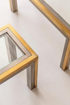 Romeo Rega Pair of Brass and Chrome Low Tables Attributed to Romeo Rega - 1572979