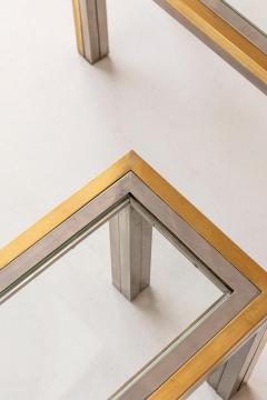 Romeo Rega Pair of Brass and Chrome Low Tables Attributed to Romeo Rega - 1572980