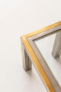 Romeo Rega Pair of Brass and Chrome Low Tables Attributed to Romeo Rega - 1572996