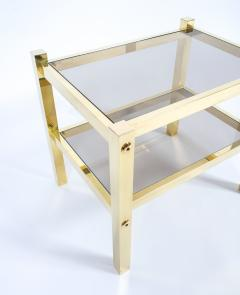 Romeo Rega Pair Of Polished Brass Glass End Tables Circa 1960   205832