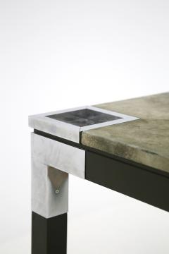 Romeo Rega Rare set play table by Romeo Rega in green alcantara leather signature 60 - 1632284