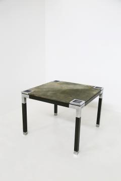 Romeo Rega Rare set play table by Romeo Rega in green alcantara leather signature 60 - 1632285