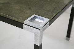 Romeo Rega Rare set play table by Romeo Rega in green alcantara leather signature 60 - 1632286
