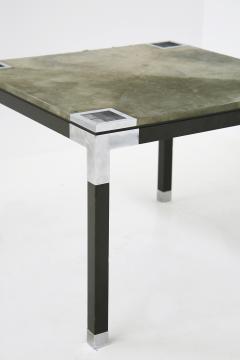 Romeo Rega Rare set play table by Romeo Rega in green alcantara leather signature 60 - 1632293