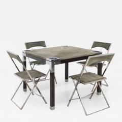 Romeo Rega Rare set play table by Romeo Rega in green alcantara leather signature 60 - 1635830