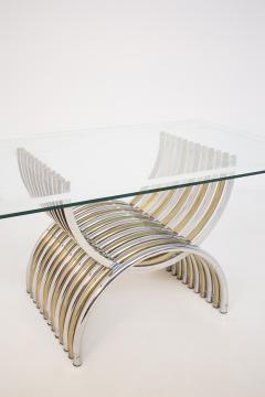 Romeo Rega Romeo Rega Dining Table in Chromed and Brassed Steel with Glass - 2053425